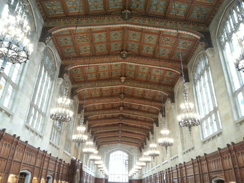 Ceiling at the Cook Research Law Library at the University of Michigan.