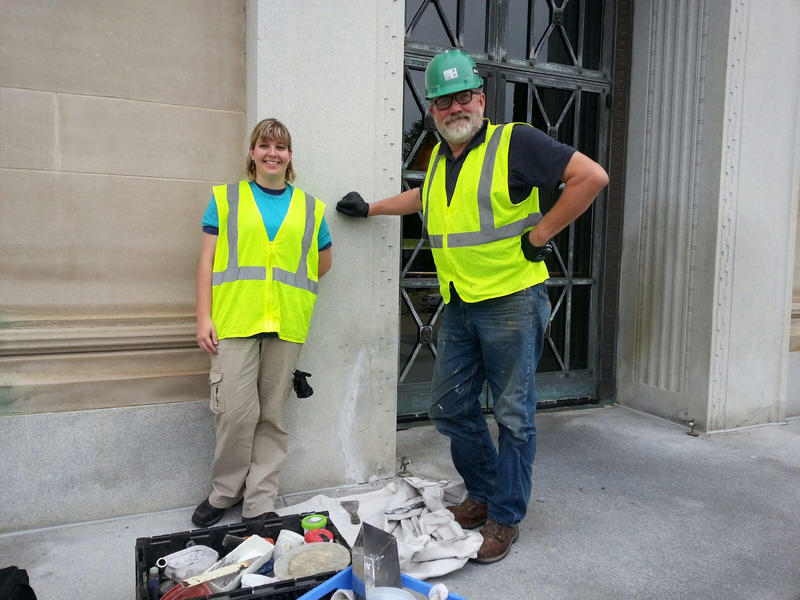 Kristin Bartlett and Ron Koenig working at the Rackham Building in Ann Arbor.