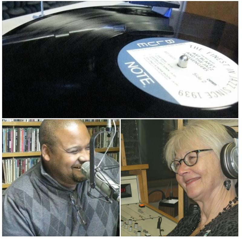 Drummer Sean Dobbins and Linda Yohn in the 89.1 WEMU Studios