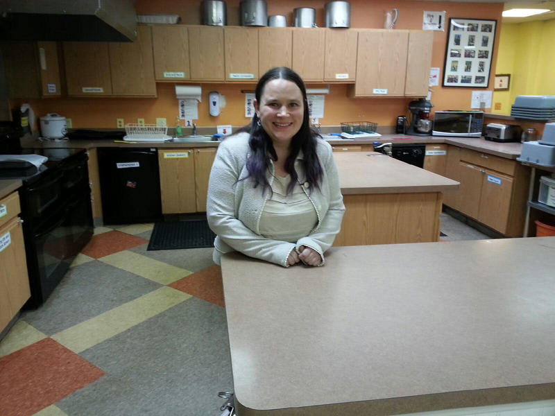 Christina Linguidi from Ann Arbor stands in the kitchen at the Fresh Start Clubhouse.