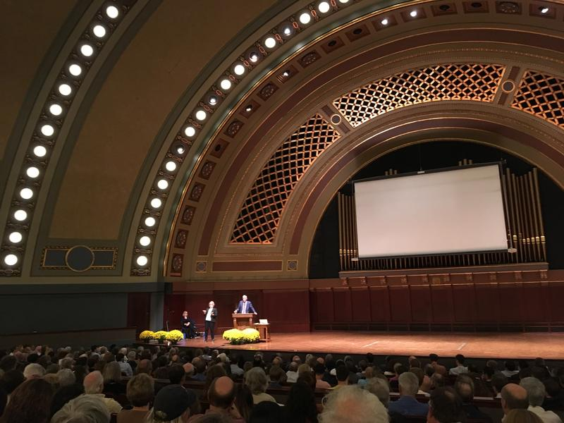 """Bill McKibbon presenting """"Down to the Wire: A Hot Fight in a Hot World,"""" at the University of Michigan, Oct. 5, 2017."""