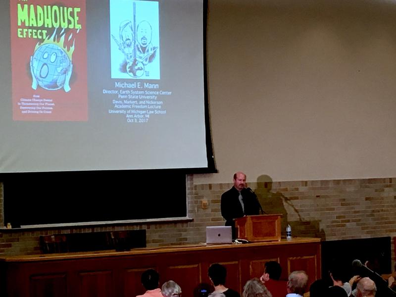 "Michael Mann presenting ""The Madhouse Effect: Climate Change Denial in the Age of Trump,"" at the University of Michigan, Oct. 3, 2017."