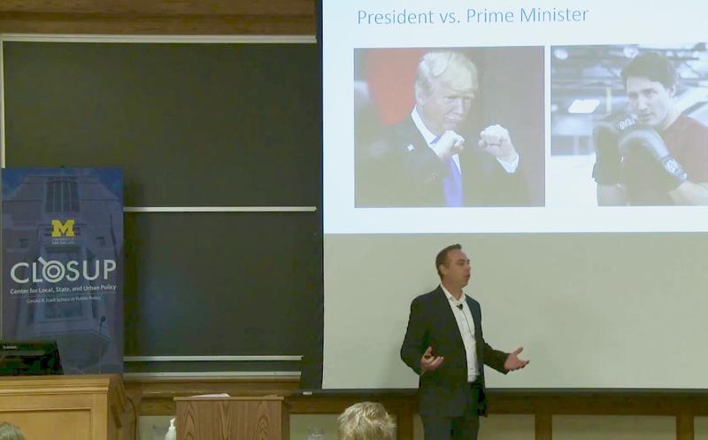 "Erick Lachapelle presenting ""Pricing carbon in a post-Paris, Trump era,"" at the University of Michigan, Oct. 4, 2017."