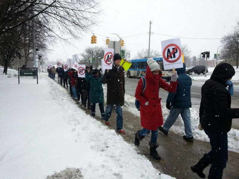 Faculty and Lecturers held a rally on campus.