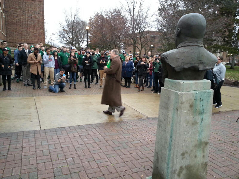 The march started at the MLK Garden on campus and ended at the student center.