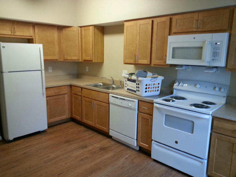 The kitchen at one of the townhouses.