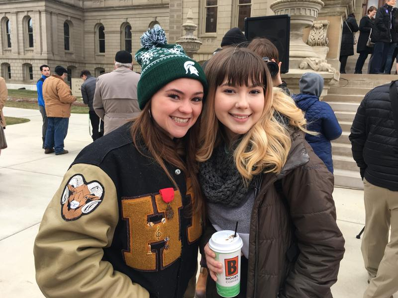 Holt High School students Kennedi Carpenter and Lily Ferris are on their mid-winter break and spent the morning at the Capitol rally.