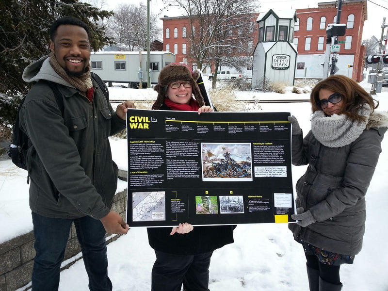 From left to right, local artist Jermaine Dickerson, City of Ypsilanti Planner Bonnie Wessler and Decky Alexander, Director of Academic Engagement Programs at EMU.