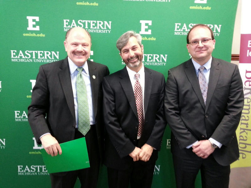 EMU President James Smith, St. Joe's Ann Arbor Hospital President David Brooks and Integrated Healthcare Associates CEO Dr. Mark LePage.