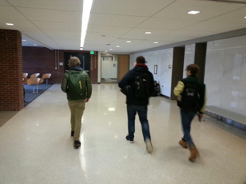 Students walking out of class at EMU.