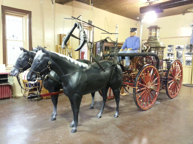 Horse-drawn steam engine.