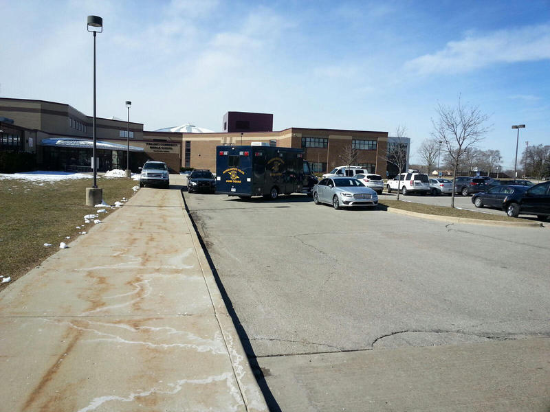 Michigan State Police Bomb Squad vehicle outside of Ypsilanti Community Middle School.