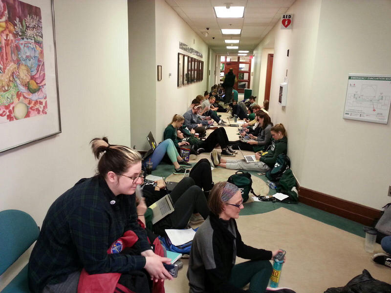Students, faculty and staff hosted a sit-in outside of President James Smith's office.