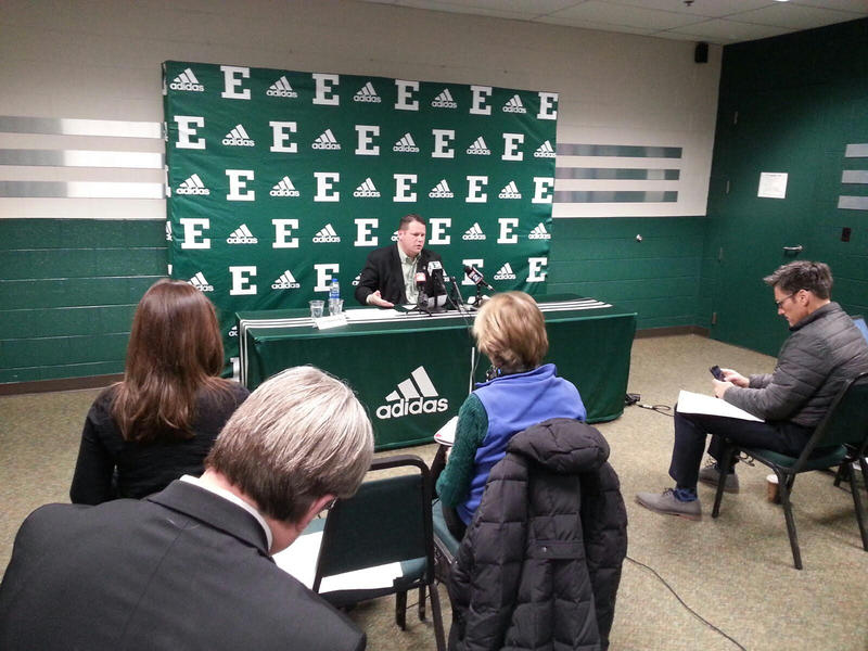 EMU Director of Athletics Scott Wetherbee speaks to reporters.