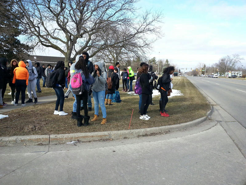 Ypsilanti Community High School students along Packard Road.