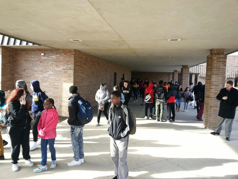 Ypsilanti Community High School students walking out.