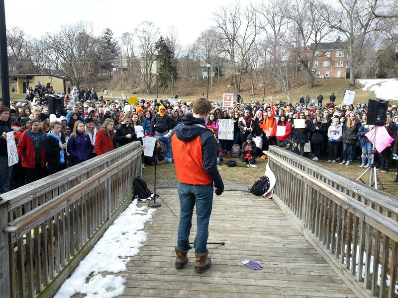 Washtenaw County students gathered at Riverside Park in Ypsilanti after walking out of school.