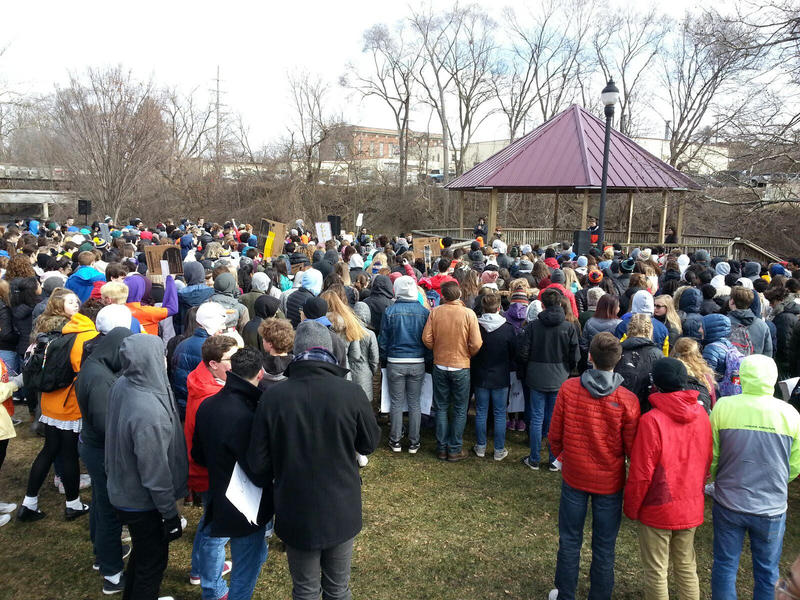 Over 300 students attended the rally in Ypsilanti.