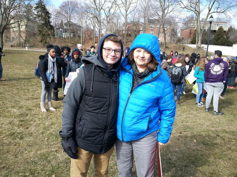 Washtenaw International High School student Zachary Weissman and his mom attend the rally.