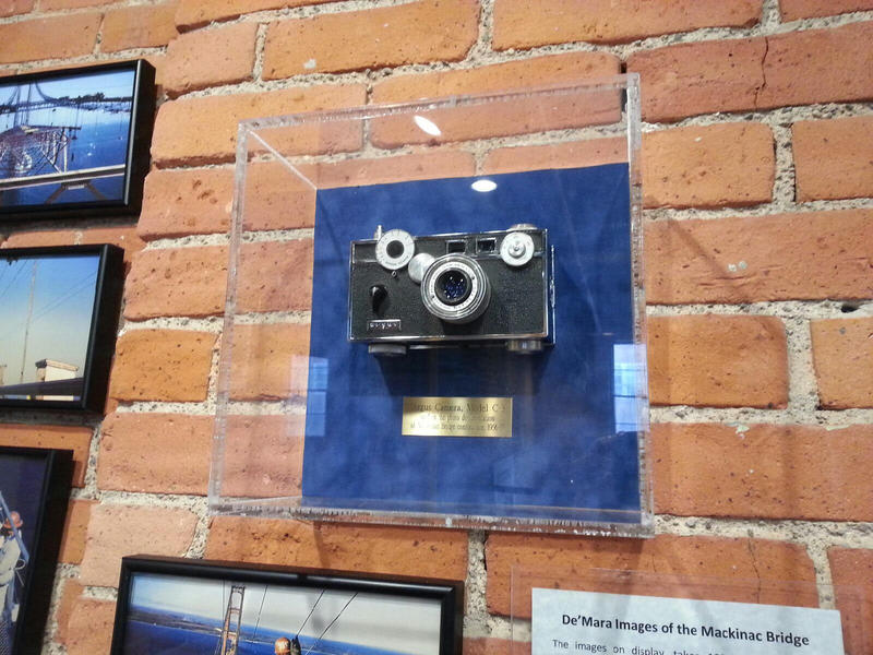 The Argus C3 camera Dick DeMara used to take photos of the Mackinac Bridge is on display at the Argus Museum.