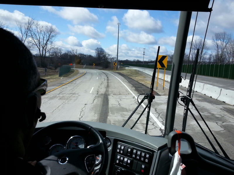 Bus tour photo of former westbound U.S. 12 section that was given to the ACM for tetsing purposes.