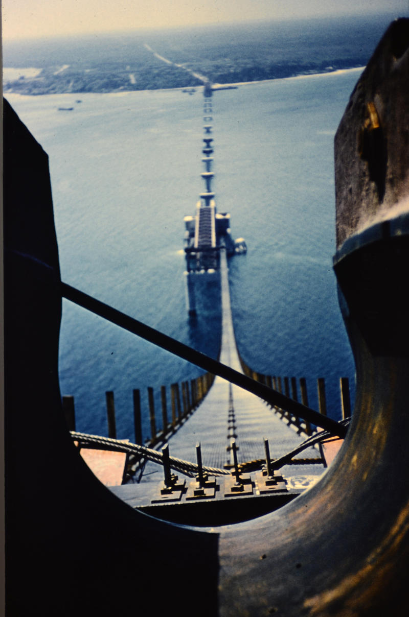 An Argus C3 camera captures the construction of the Mackinac Bridge.