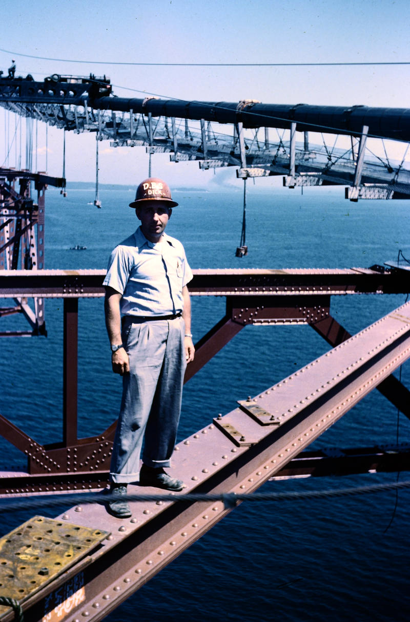 Former Argus employee Dick DeMara took photos 550 feet in the air during the construction of the Mackinac Bridge.