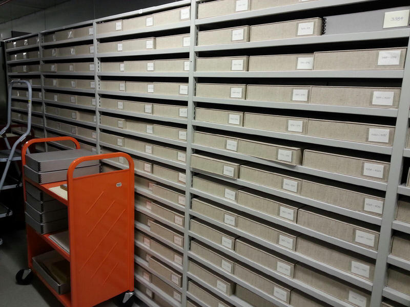 The collection is stored in archival boxes.