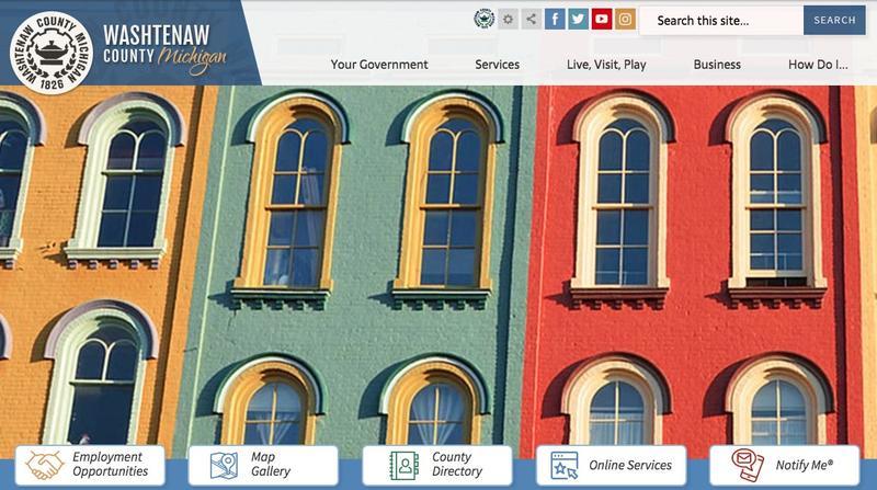 New Washtenaw County Web Site Homepage