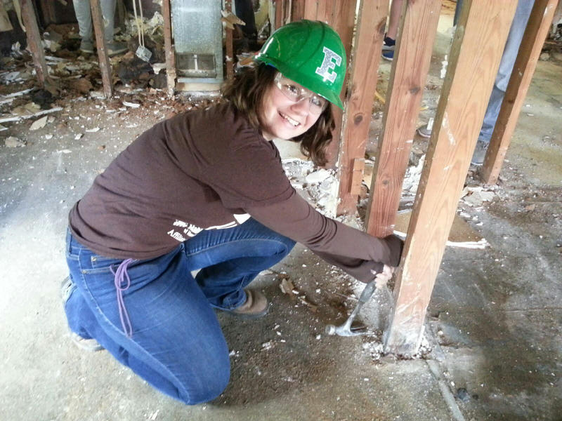 Karol Chubb from Habitat for Humanity of Huron Valley also helped out.