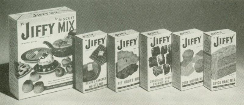 Vintage Jiffy Mix boxes.