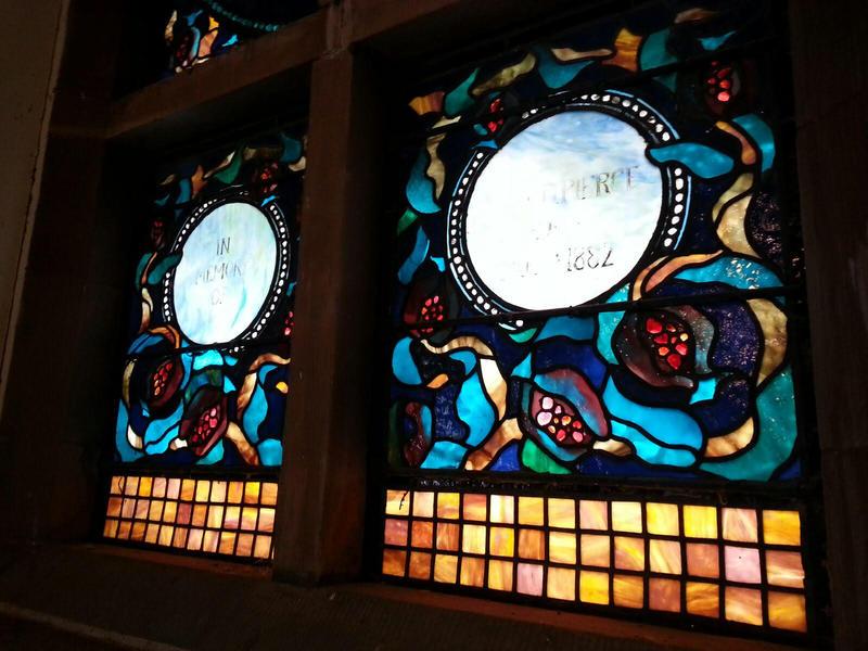 Tiffany glass windows.