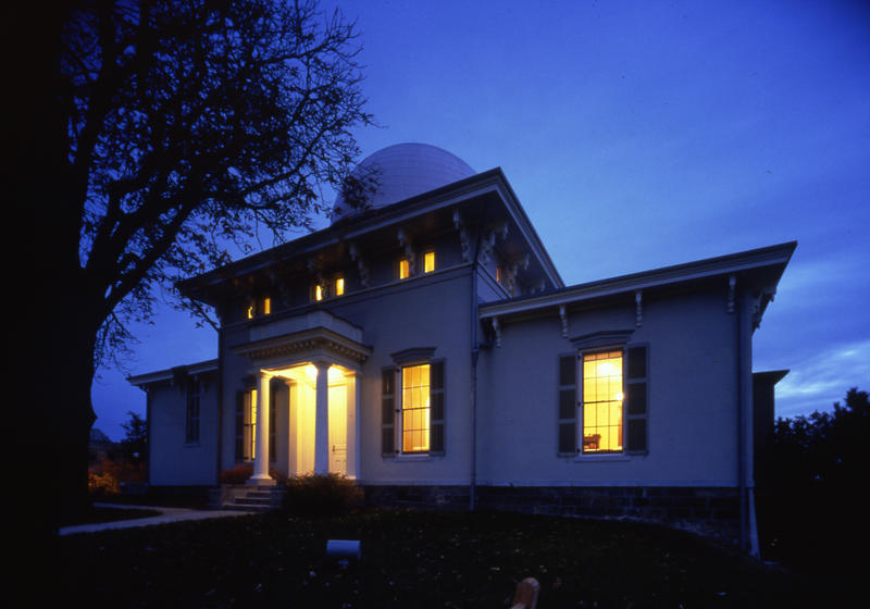 The Detroit Observatory at night.
