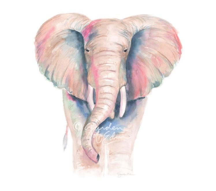 Watercolor Elephant Painting