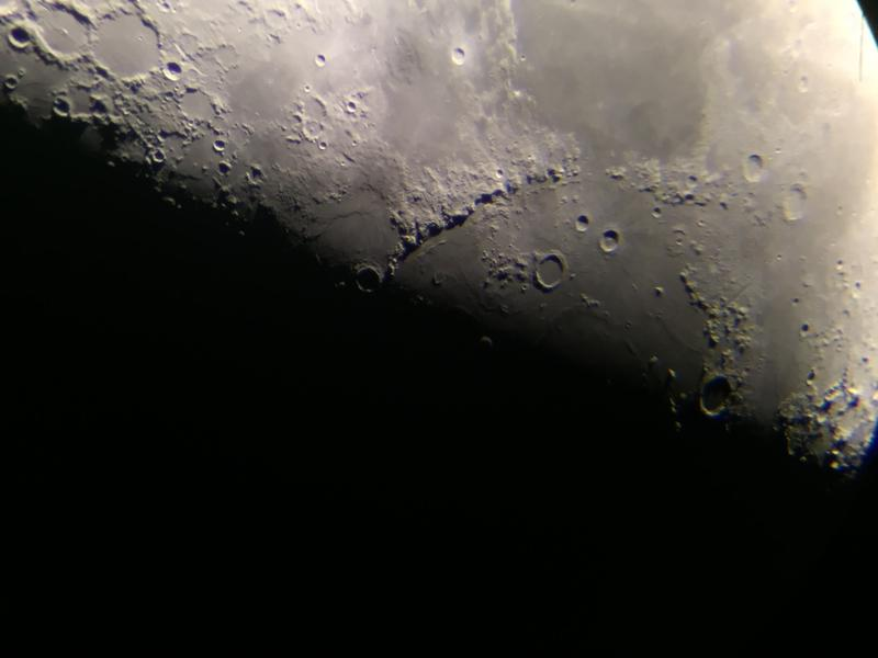 Photo of the Earth's moon taken through the lens of the telescope in the main dome.
