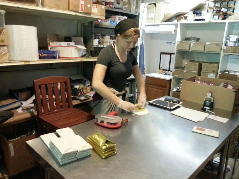 Jaime Moorehouse in the packaging room.