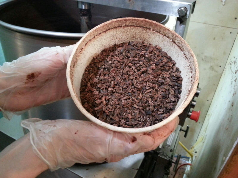 Cocoa beans from Mindo Ecuador are used to make the chocolate.