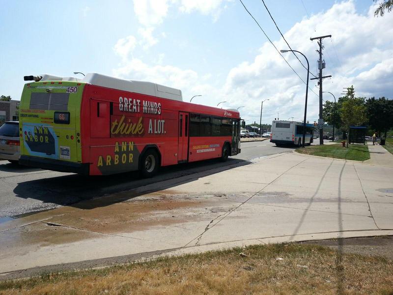 Buses along Washtenaw Avenue in Ann Arbor.