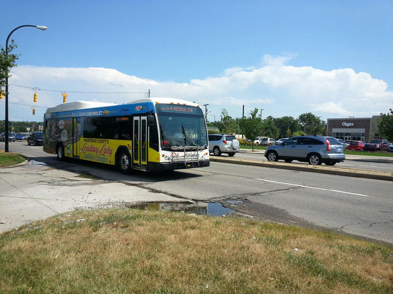 Bus on Washtenaw Avenue in Ann Arbor.