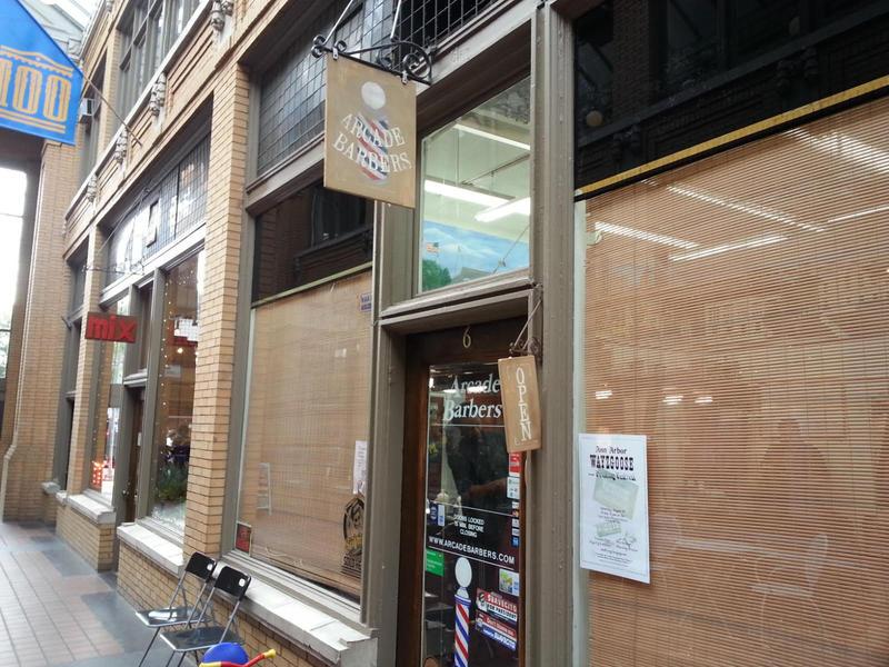 Doorway to Arcade Barbers