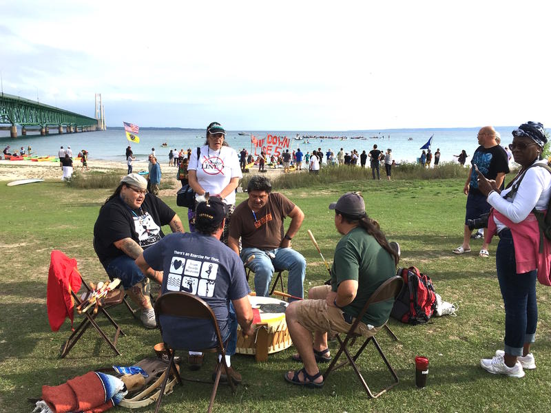 Line 5 protesters at the Straits of Mackinac on Sept. 1, 2018.