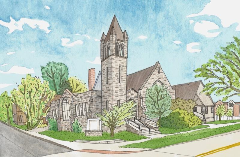 """Artist Margaret Hitch created this watercolor portrait of the """"Ypsi"""" future community performance space."""