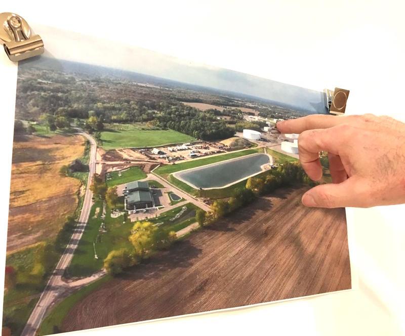 Aerial photo of the ~100-acre Enbridge storage terminal in Stockbridge, Michigan.