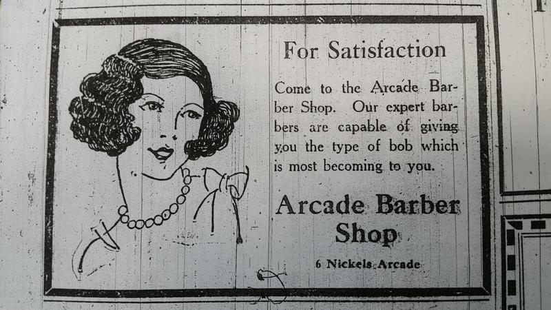 Old ad for Arcade Barbers