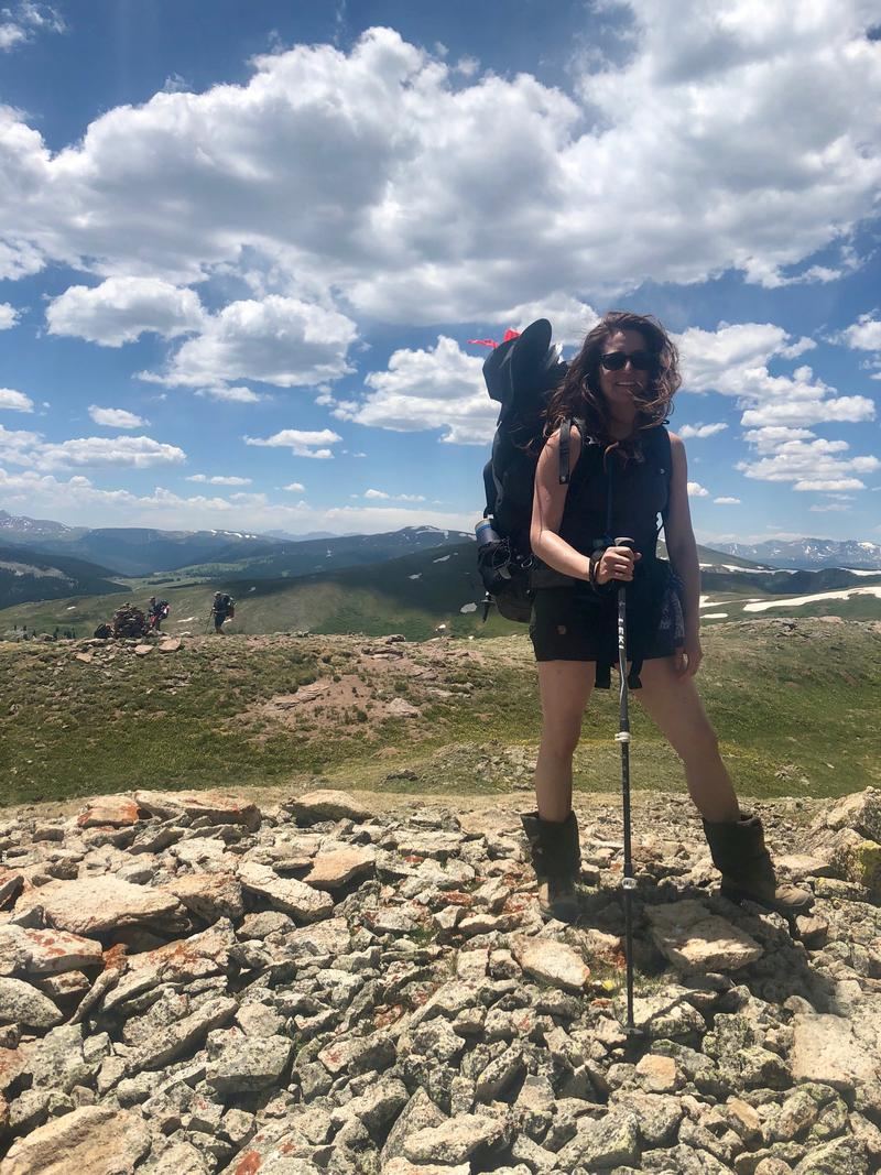 Fjallraven store manager Kelsey Patterson hiking in Colorado.