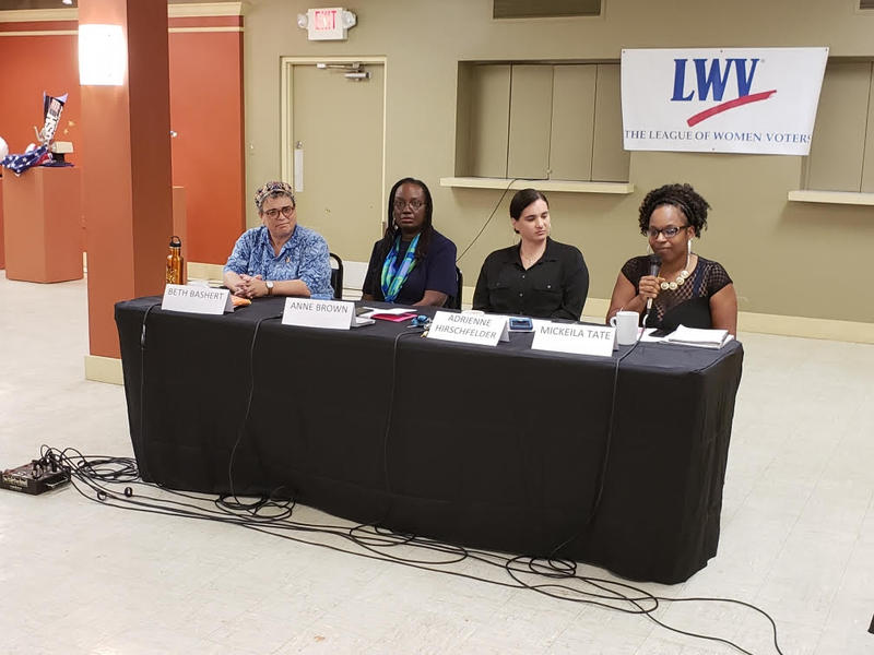(From L to R) Beth Bashert, Anne Brown, Adrienne Hirschfelder, and Mickeila Tate at the Ypsilanti mayoral candidate forum at the Riverside Arts Center.