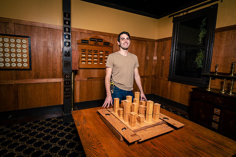 Patton Doyle in one of the escape rooms in progress