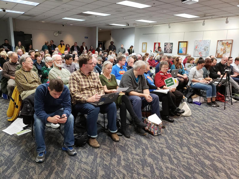 Ann Arbor residents attend a panel discussion on Proposal A at the downtown Ann Arbor Library branch.