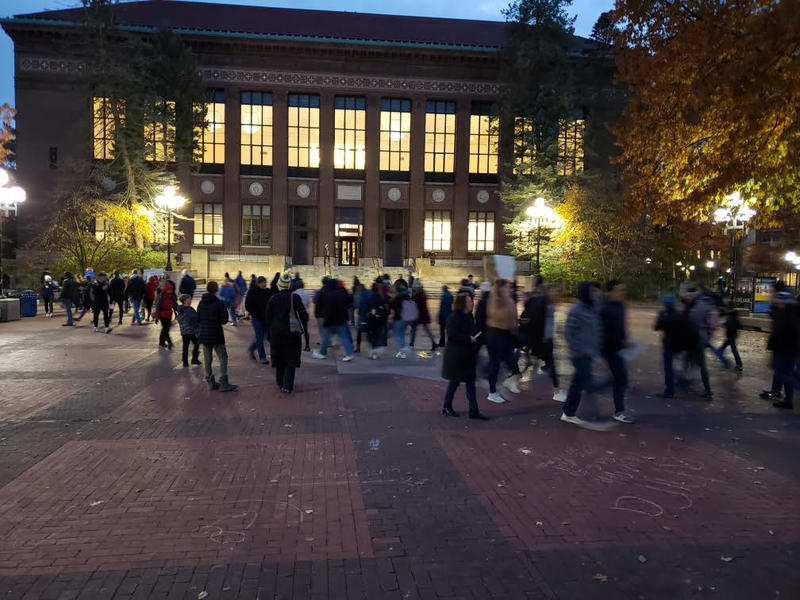 March along the Diag at the University of Michigan.