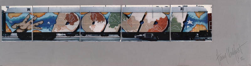 Artrain Graffiti Train, Dondi, Signed by the Artist, Car 1, Side A, 5 photographs, signed 1986.